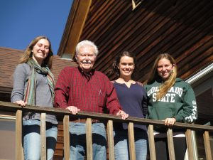 Grandpa with 3 grand-daughters